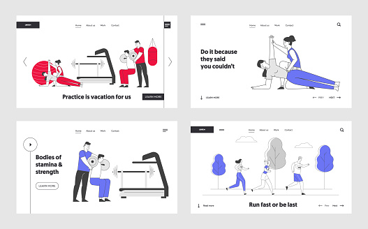 Professional Trainer Service Website Landing Page Set. People Doing Fitness Workout in Gym with Coach Help. Men Women Exercising with Tutor Web Page Banner. Cartoon Flat Vector Illustration, Line Art