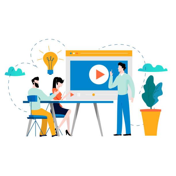 Professional training, education, video tutorial, online business courses, presentation, webinar vector vector art illustration