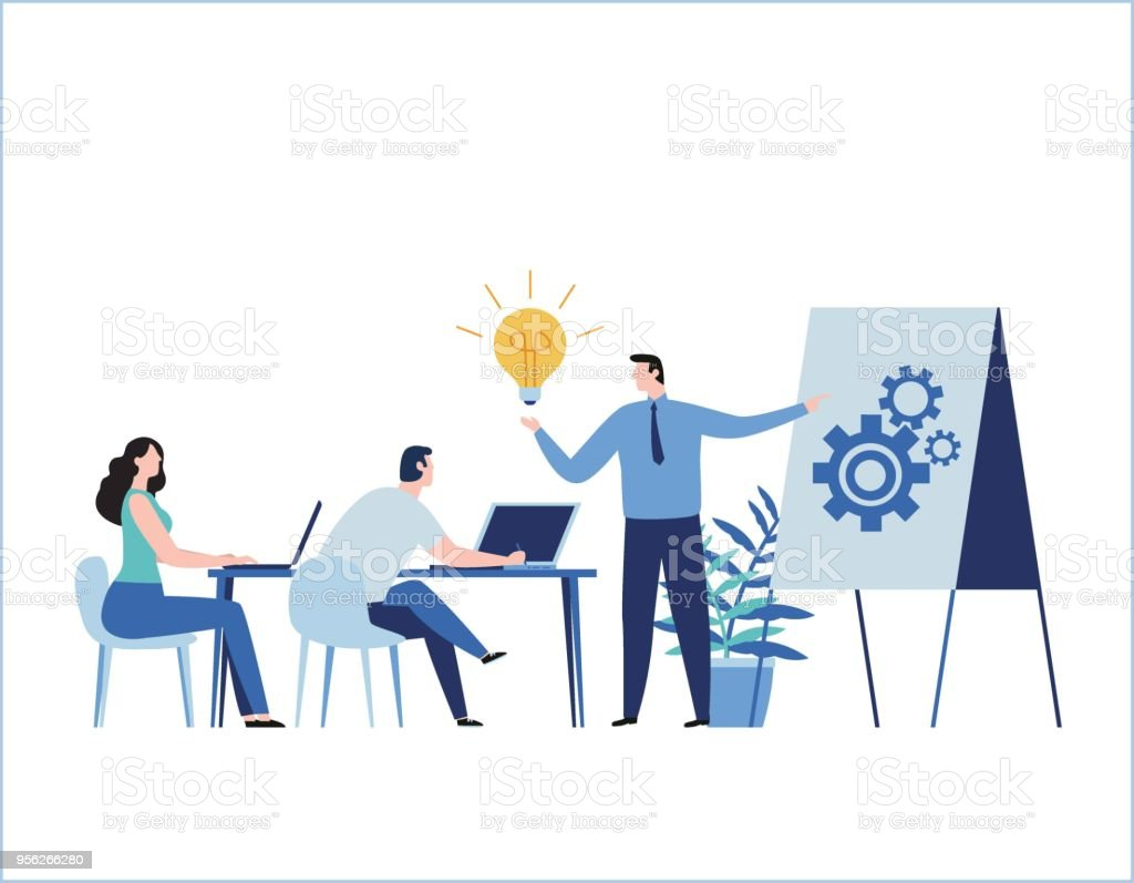Illustration vectorielle plane de formation professionnelle. concept d'entreprise de l'éducation. cours tutoriel présentation. Expertise, compétences développement conception bannière mobile et des éléments graphiques en ligne web - Illustration vectorielle