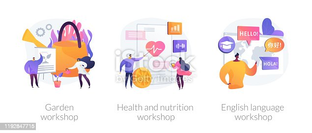 Special gardener, nutritionist and linguist education icons set. Garden workshop, health and nutrition workshop, foreign language workshop metaphors. Vector isolated concept metaphor illustrations