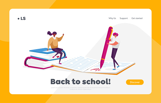 Professional Tutors Occupation, Job Landing Page Template. Tiny Teachers Characters Checking Test or Homework at Huge Notebook, Woman on Textbooks, School Workers. Cartoon People Vector Illustration