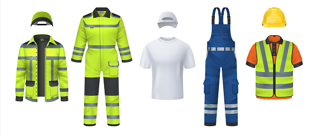 Professional uniform. Realistic work wear with helmet and reflective protective stripes. Isolated coveralls and headgears, t-shirt or vest. Garment for repairman. Vector clothes set