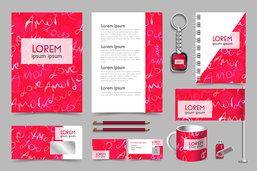 Professional Universal Abstract Branding Design Kit in Pink Colors