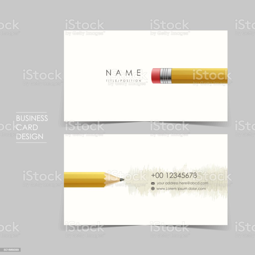 professional vector business card set with pencil vector art illustration