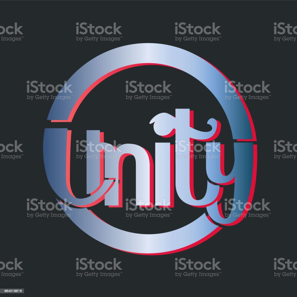 Professional vector logotype design - the word Unity on dark background - Royalty-free Art stock vector