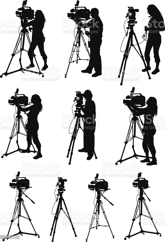 Professional Video Equipment - Videographer vector art illustration