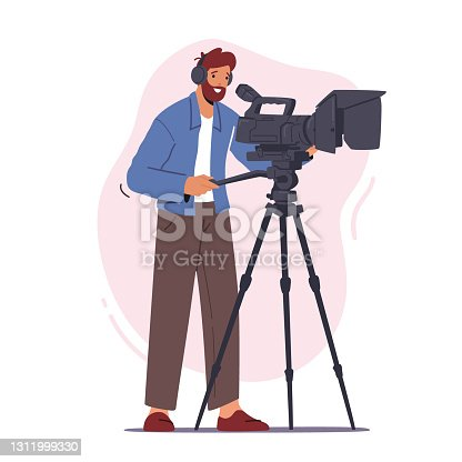 istock Professional Videographer Male Character Record Video or Movie on Camera Isolated on White Background, Mass Media 1311999330