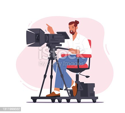 istock Professional Videographer Male Character Sitting on Special Platform with Camera Record Video, Mass Media Broadcast 1311999332