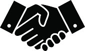 Professional welcome and respect handshake icon