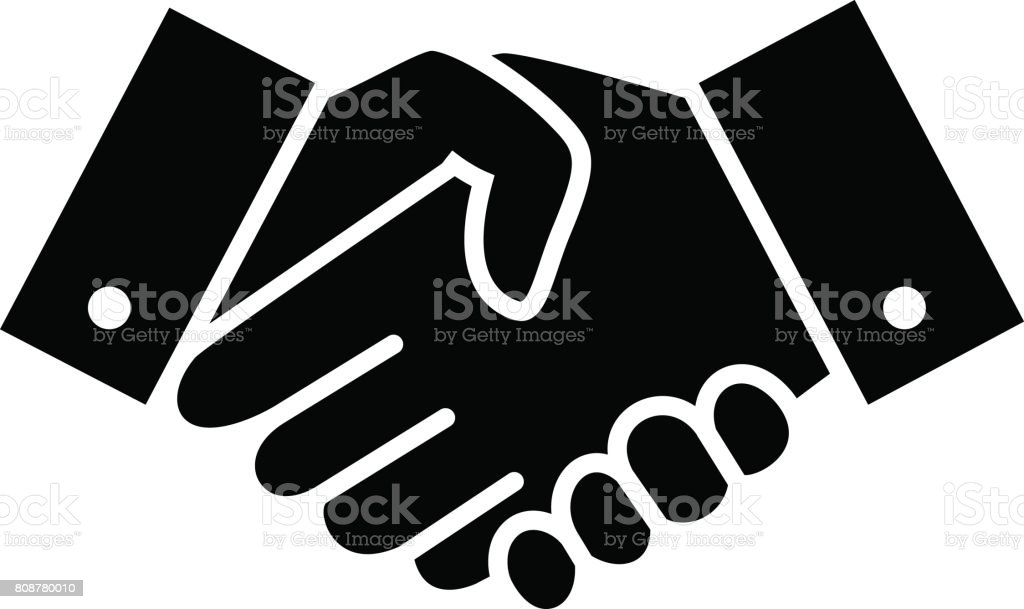 Professional welcome and respect handshake icon vector art illustration