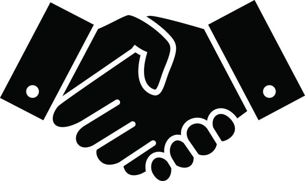 professional welcome and respect handshake icon - hand shake stock illustrations, clip art, cartoons, & icons