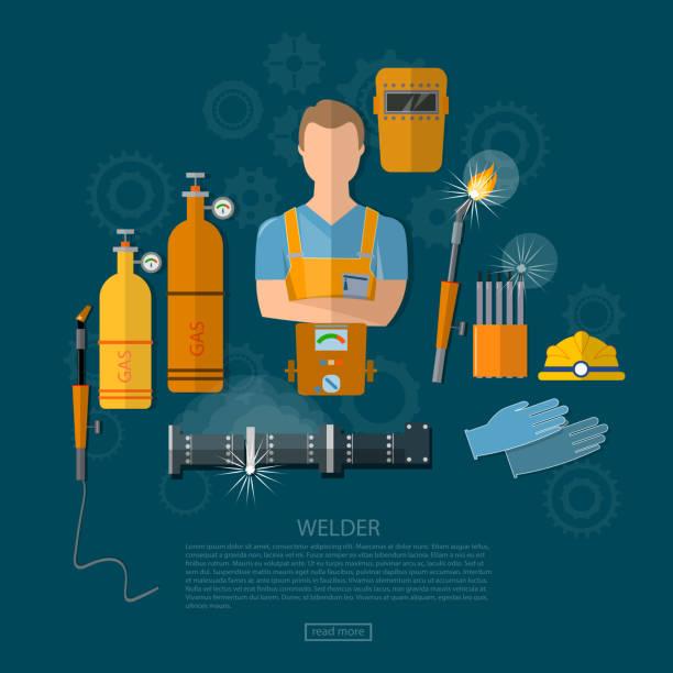 Professional welder welding tools and equipment vector art illustration