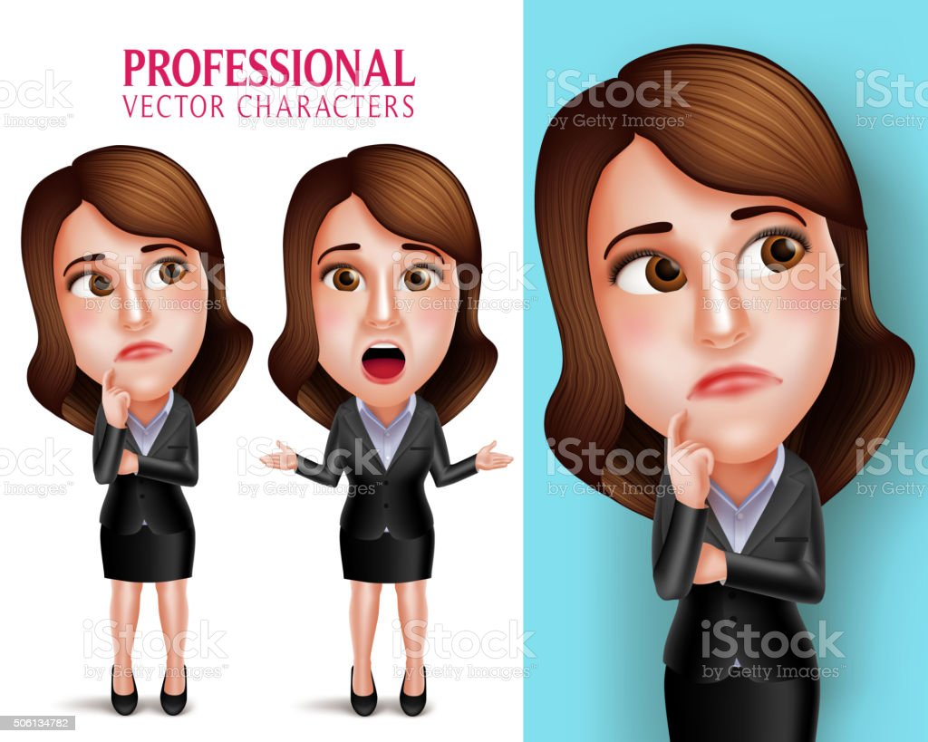 Professional Woman Character with Business Outfit Thinking or Confused vector art illustration