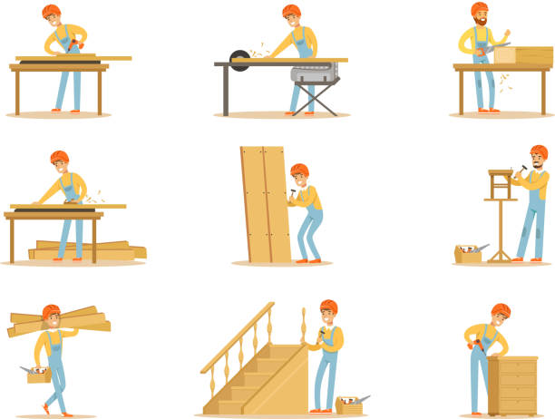 Professional Wood Jointer At Work Crafting Wooden Furniture And Other Construction Elements Vector Illustrations Professional Wood Jointer At Work Crafting Wooden Furniture And Other Construction Elements Vector Illustrations. Cartoon Character Cabinet Maker Set Of Work Situations. carpenter stock illustrations
