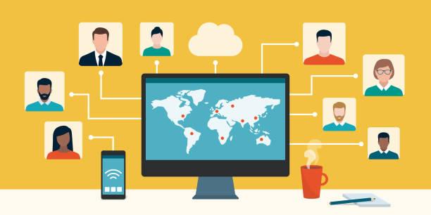 illustrations, cliparts, dessins animés et icônes de travailleurs professionnels et pigistes travaillant ensemble en ligne - visioconférence