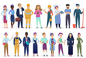 Professional workers people set standing together. Different occupation employment and teamwork vector illustration