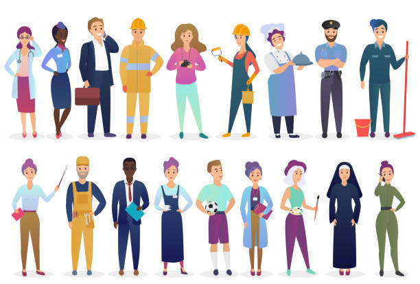 professional workers people set standing together. different occupation employment and teamwork vector illustration. - zawód stock illustrations