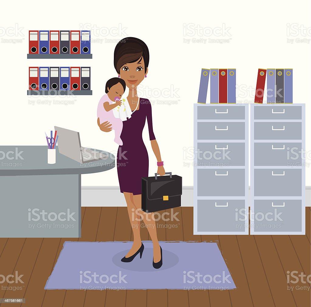 Un professionnel travaillant affaires Mère et bébé - Illustration vectorielle