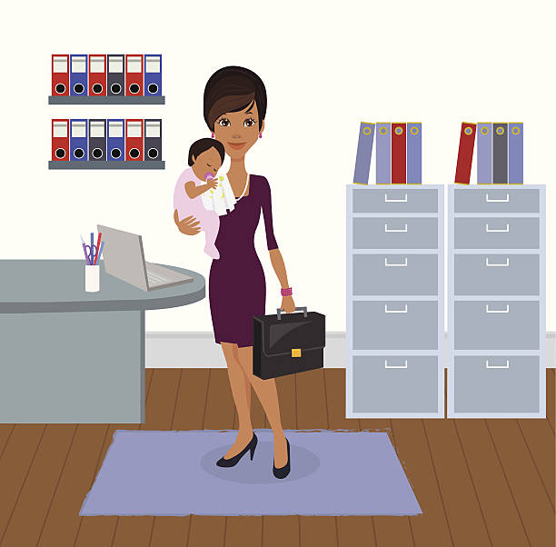 bildbanksillustrationer, clip art samt tecknat material och ikoner med professional working business mother and baby - superwoman barn