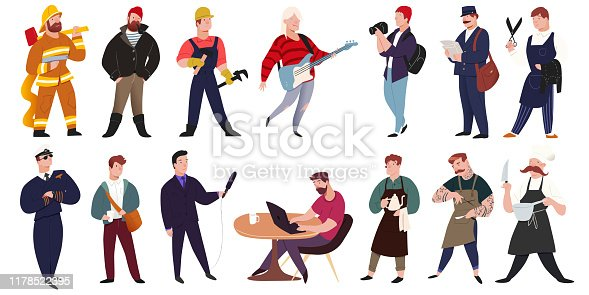istock Professionals people 14 male worker characters. Man illustration set isolated on white background. Vector illustration flat style. For creating stylish designs motion animation websites promo prints. 1178522395