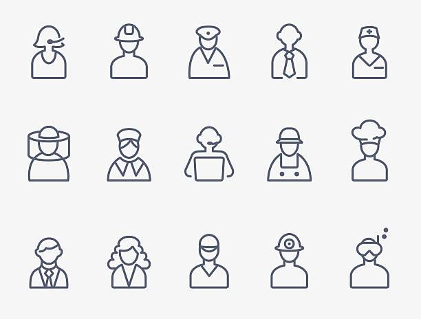 illustrations, cliparts, dessins animés et icônes de professionnels, icônes de personnages - polices ligne fine