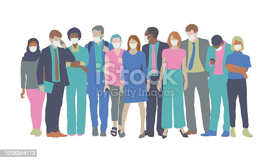 istock Professionals with medical face masks 1208344173