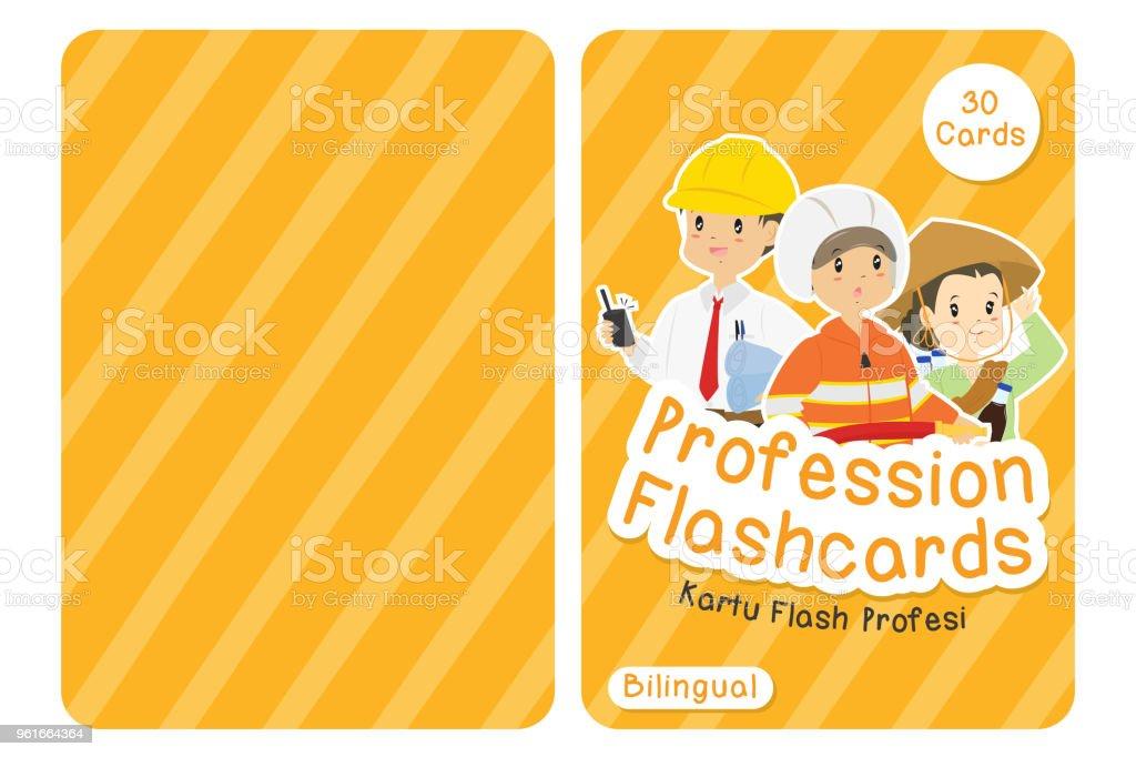 Professions Bilingual Flashcard Cover Design Cartoon Vector vector art illustration