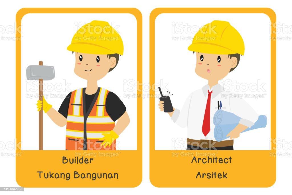 Professions Bilingual Flashcard Design, Builder and Architect Cartoon Vector vector art illustration