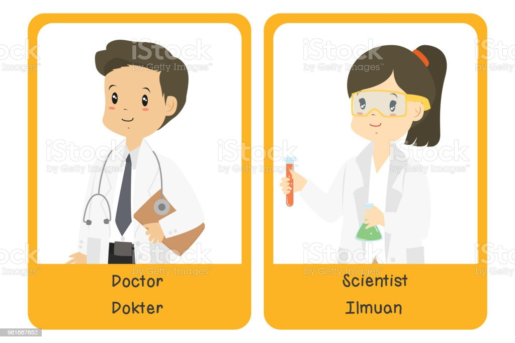 Professions Bilingual Flashcard Design, Doctor and Scientist Cartoon Vector vector art illustration