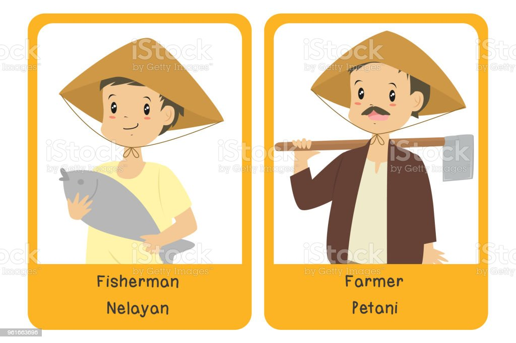 Professions Bilingual Flashcard Design, Farmer and Fisherman Cartoon Vector vector art illustration