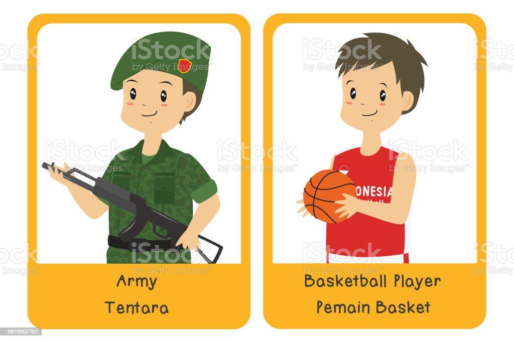 Professions Bilingual Flashcard Design, Indonesian Army and Basketball Player Cartoon Vector vector art illustration