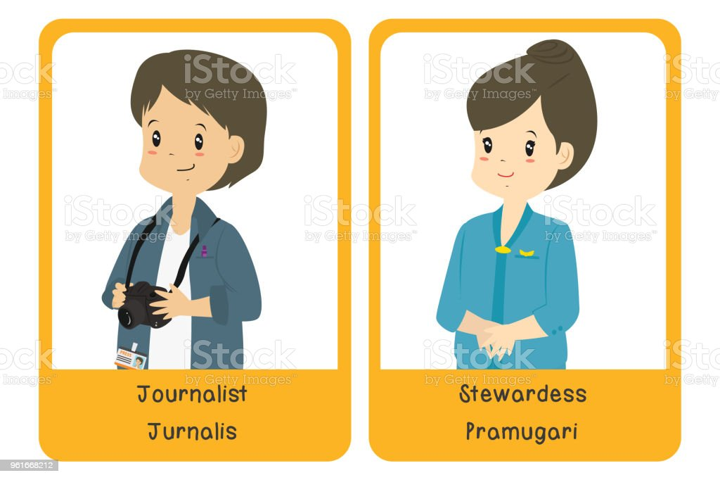 Professions Bilingual Flashcard Design, Journalist and Stewardess Cartoon Vector vector art illustration