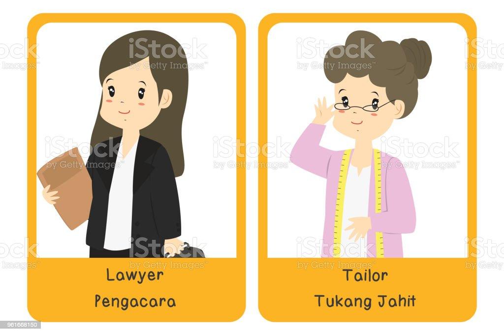 Professions Bilingual Flashcard Design, Lawyer and Tailor Cartoon Vector vector art illustration