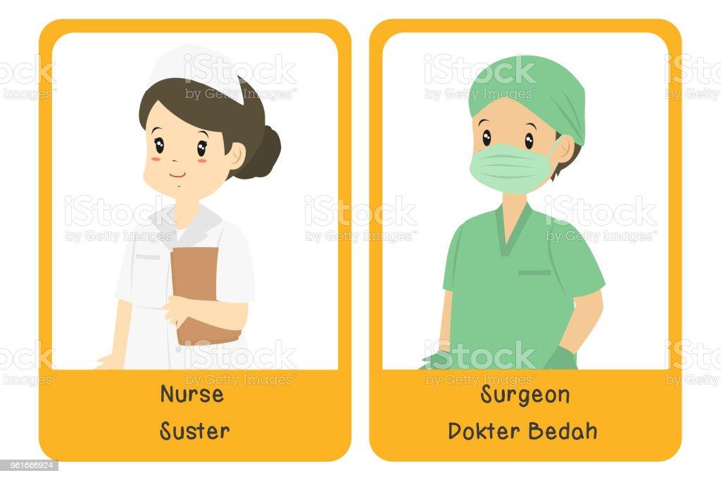 Professions Bilingual Flashcard Design, Nurse and Surgeon Cartoon Vector vector art illustration