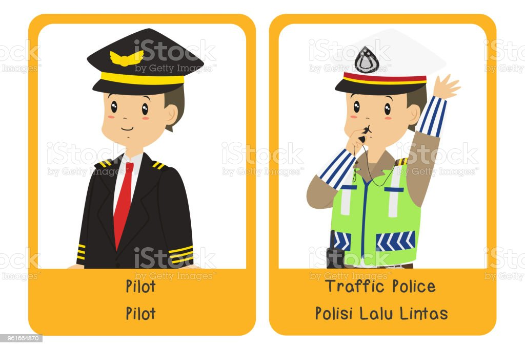 Professions Bilingual Flashcard Design, Pilot and Traffic Police Cartoon Vector vector art illustration