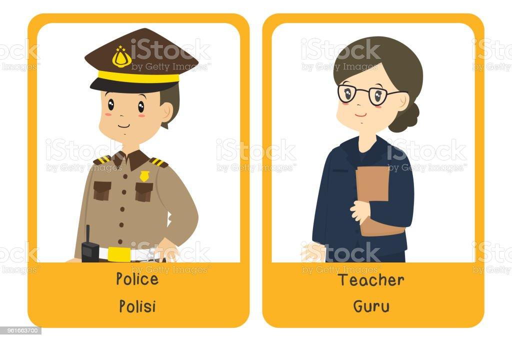 Professions Bilingual Flashcard Design, Police and Teacher Cartoon Vector vector art illustration