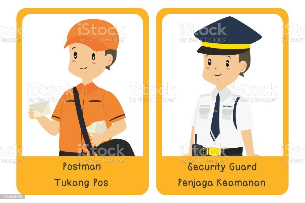 Professions Bilingual Flashcard Design, Postman and Security Guard Cartoon Vector vector art illustration