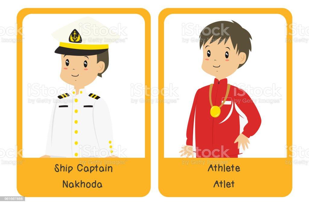 Professions Bilingual Flashcard Design, Ship Captain and Athlete Cartoon Vector vector art illustration