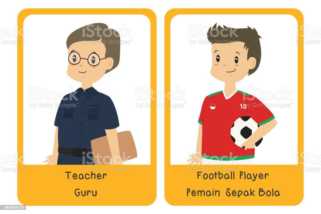 Professions Bilingual Flashcard Design, Teacher and Football Player Cartoon Vector vector art illustration