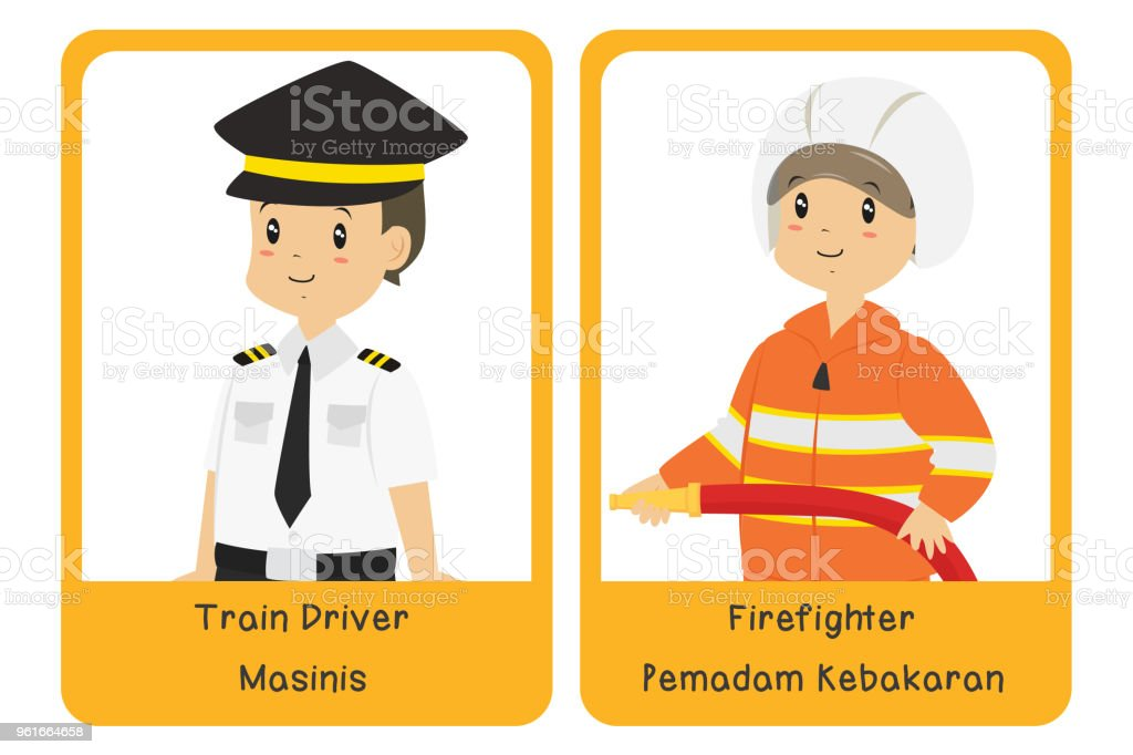 Professions Bilingual Flashcard Design, Train Driver and Firefighter Cartoon Vector vector art illustration