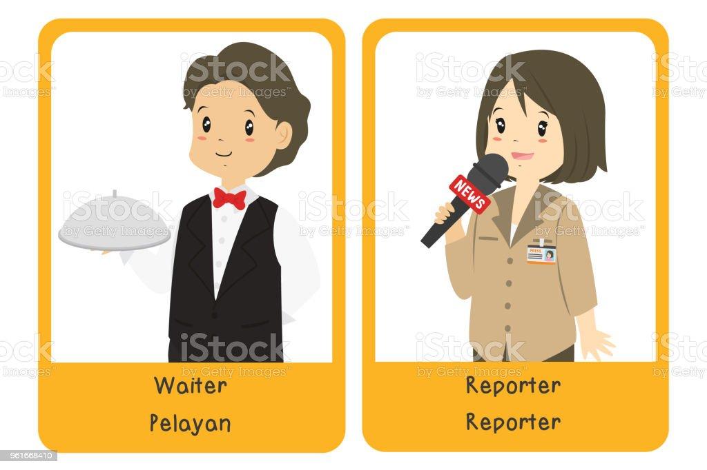 Professions Bilingual Flashcard Design, Waiter and Reporter Cartoon Vector vector art illustration