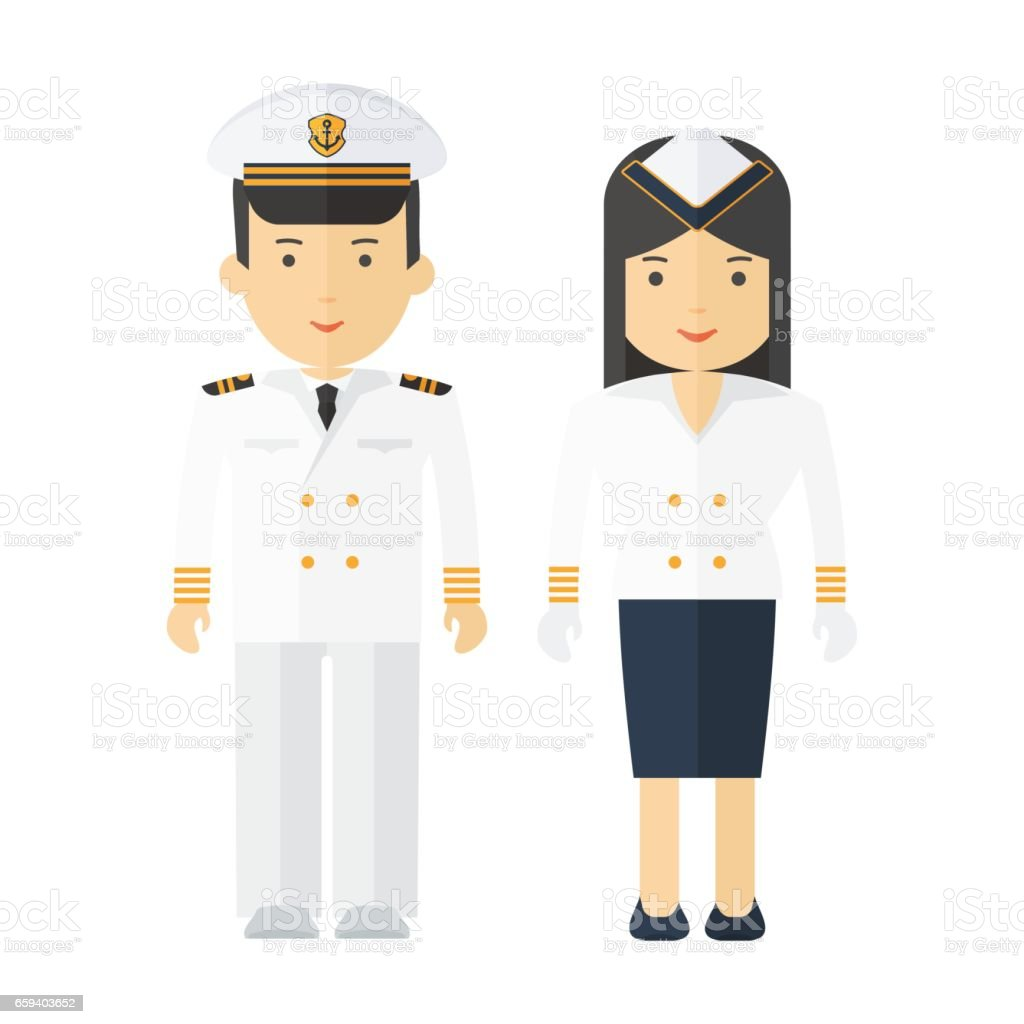 professions captain and stewardess vector art illustration