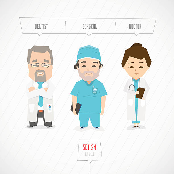Professions characters collection Professions characters collection. Cartoon flat design. Funny art surgical cap stock illustrations