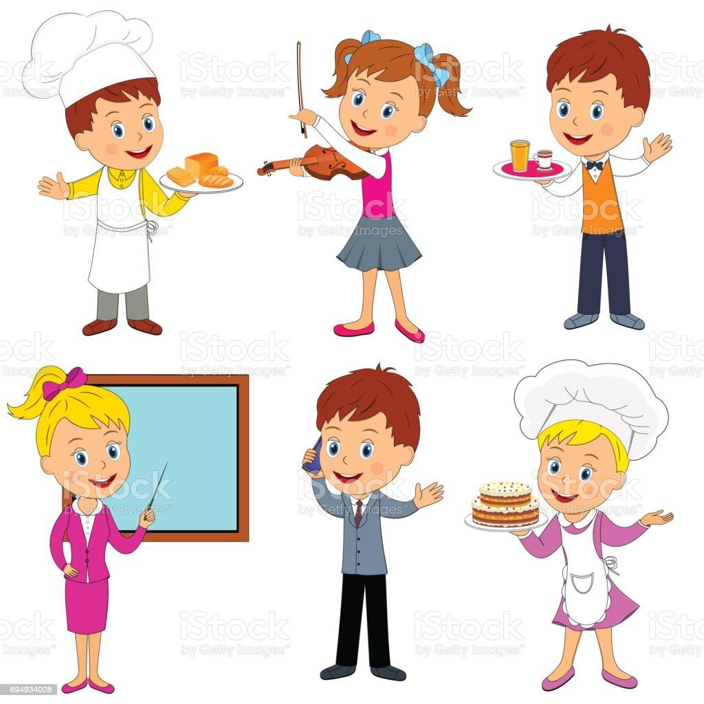 Ilustración De Colección De Profesiones Para Niños Ilustración Vector Y Más Vectores Libres De