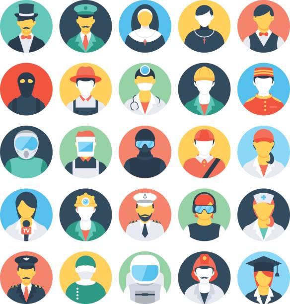 ilustrações, clipart, desenhos animados e ícones de profissões coloridas vetor ícones 1 - enfermeira