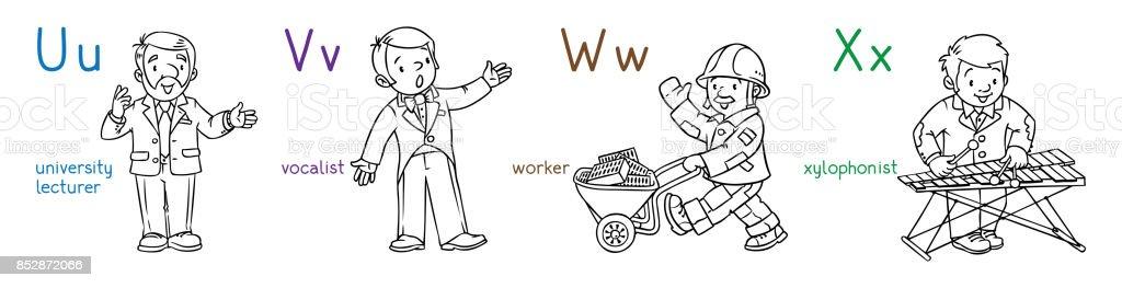 Ilustración de Profesiones De Abc Para Colorear Libro Conjunto y más ...