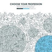 professions Website Template Design with Doodle Background
