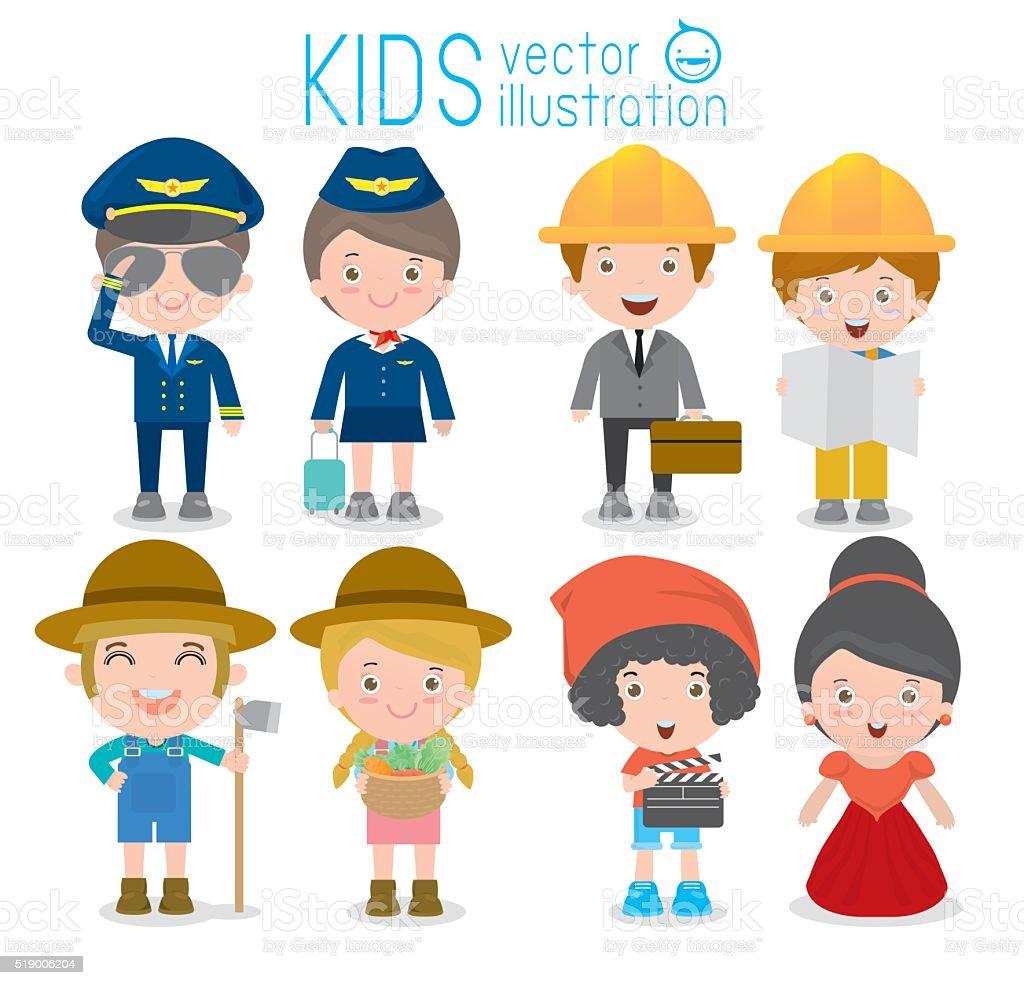 Ilustración De Profesiones Para Niños Y Más Vectores Libres De Derechos De Adulto