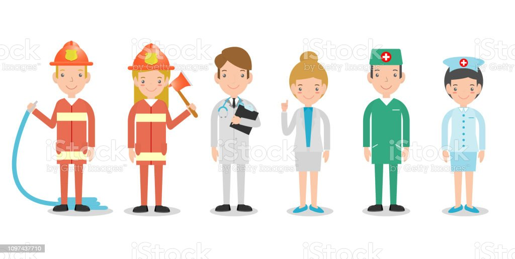 professions for people, set of cute professions for person isolated...