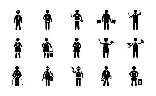professions glyph icons - travel agent stock illustrations, clip art, cartoons, & icons